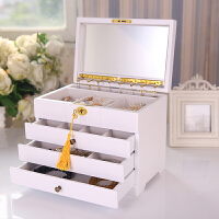 结婚礼物带锁实木质首饰盒公主多层大容量项链收纳盒