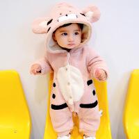 宝宝秋冬装女0一1岁刚出生婴儿衣服潮新生儿新生儿衣服冬季连体衣