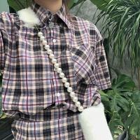 韩版ulzzang原宿风格子套装复古衬衫配半身裙短裙两件套