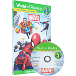 英文原版 漫威复仇者联盟分级读物 附CD 3个故事合辑 World of Reading Marvel L1 蜘蛛侠钢