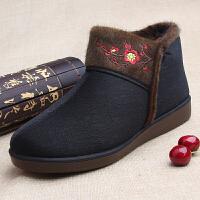 冬季布鞋老年人女棉鞋加厚保暖轻便防滑老太太奶奶大码休闲鞋