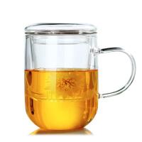 加厚耐热透明过滤玻璃杯三件创意办公茶杯花茶杯子泡茶杯350ML