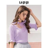 【5折价132】Lagogo2018秋季新款紫色上衣淑女喇叭袖甜美 针织T恤女HCTT437G61