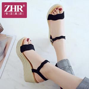ZHR2018夏季新款坡跟凉鞋一字扣平底女鞋韩版高跟鞋松糕厚底鞋子M203