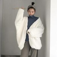 冬季新长袖毛毛纯色时尚外套女韩版i百搭气质中长上衣