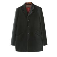 男装外套冬季潮 纯色单排扣西装领黑色毛呢大衣男中长