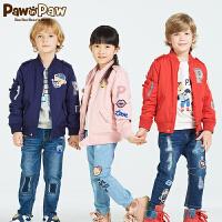 【秒杀价:100】Pawinpaw宝英宝卡通小熊童装款女童休闲棒球服拉链外套儿童休闲上衣
