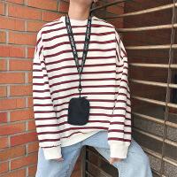 秋冬季长袖条纹卫衣男士潮流宽松上衣男生韩版衣服文艺学生加绒