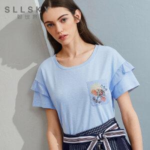 熙世界2018夏季新款绣花纯色短袖t恤女白色巨袖宽松上衣112ST109