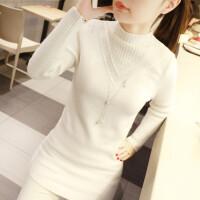 高领打底毛衣女士甜美学生修身秋季冬装新款中长款套头针织衫加厚