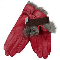 时尚秋冬季女士优雅真皮手套精品兔毛羊皮手套