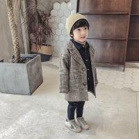 男童毛呢大衣2018新款韩版春秋中大童秋季童装儿童格子呢子外套潮 格子