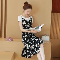 碎花吊带裙两件套韩国夏季女荷叶边无袖韩版学生小清新雪纺连衣裙