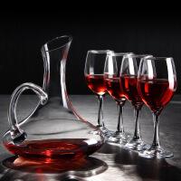 【每满100减50】汉馨堂 红酒杯套装 简约家用创意带把斜口醒酒器无铅玻璃高脚葡萄酒杯酒具