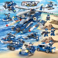 兼容乐高军事系列警察车飞机坦克游艇八合一儿童拼插积木益智模型
