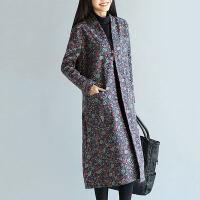 加绒加厚风衣女秋冬新款民族风女装中长款长袖中国风复古外套