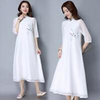假两件连衣裙2018春夏装新款民族风女装长款七分袖立领中国风裙子