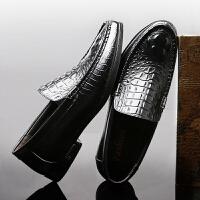 承发 商务休闲皮鞋子男士鳄鱼纹软底舒适套脚 26198