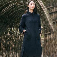 布符2018秋冬新款复古气质毛呢外套女中长款立领绣花长袖呢子大衣