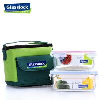 Glasslock 韩国钢化玻璃保鲜盒玻璃便当饭盒三光云彩便当餐碗保温两件套GL16A