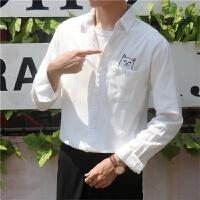 印花衬衫男长袖秋季新款韩版潮青年翻领休闲衬衫上衣
