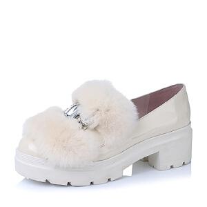 【鞋靴超级品类日】BASTO/百思图漆皮牛皮女单鞋TWL21CM6