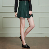 冬�b新品 高腰修身A字半身裙��毛呢短裙X646766Q20