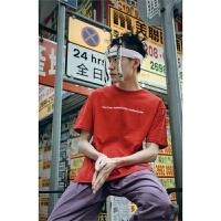 潮牌夏季男士圆领短袖t恤 欧美嘻哈学生宽松字母印花半袖打底衫男
