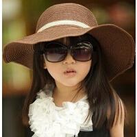 夏季海边帽太阳帽 女童沙滩帽儿童草帽子大沿遮阳帽亲子帽