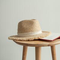 拉菲草帽女夏季出游休闲度假遮阳帽平沿巴拿马礼帽毛边沙滩帽韩版 可调节