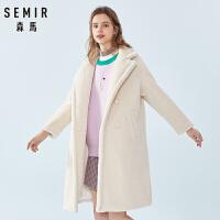 森马毛呢外套女冬季新款宽松显瘦加绒中长款夹棉保暖棉衣