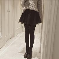 秋冬季裙裤女 蕾丝拼接假两件外穿原宿风ulzzang加绒加厚冬裙裤裙