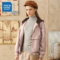 [到手价:101.9元]真维斯女装 秋装新款 混纺针织贴合布连帽外套