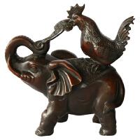吉祥如意铜象鸡年礼品 铜器风水摆件铜鸡象如意象