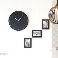 挂钟客厅创意时钟家用简约现代时尚个性卧室静音田园挂表 黑色 赠送相框