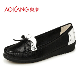 奥康女单鞋春季新品真皮软底低跟护士鞋坡跟蝴蝶结厚底妈妈鞋