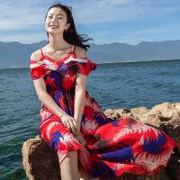维绯海边度假露肩沙滩裙荷叶边V领连衣裙吊带波西米亚长裙大摆裙