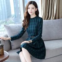 中长款打底连衣裙女春秋冬季2018新款韩版百搭流行长袖气质裙子潮