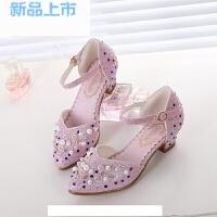 女童鞋秋公主鞋的高跟美丽儿童礼服鞋女银白色小女孩银色舞台鞋子