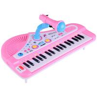 力辉玩具 儿童乐器 37键充电带麦克风电子琴 多功能音乐钢琴玩具