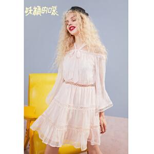 【秒杀价:220】妖精的口袋一字肩裙子新款荷叶边泡泡袖雪纺连衣裙女
