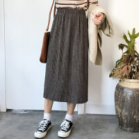 时尚韩版秋冬季新款女装A字松紧高腰半身裙中长款纯色开叉裙子潮