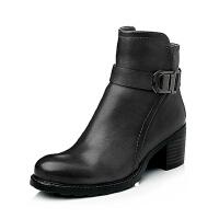 Bata/拔佳专柜同款小牛皮粗跟时尚女靴AZH50DD5