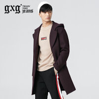 gxg.jeans男装冬季单排扣修身青年潮流紫色长款毛呢大衣64626204