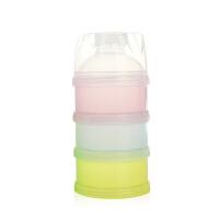 婴儿奶粉盒外出便携带便携式单个两用储奶盒外带零食分装盒米粉盒O 彩色三层