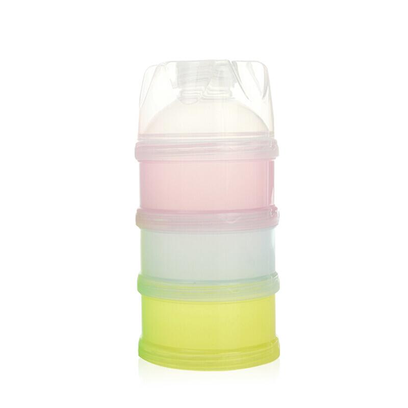婴儿奶粉盒外出便携带便携式单个两用储奶盒外带零食分装盒米粉盒O 彩色三层 偏远地区发货受限制,具体地区请咨询在线客服