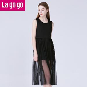 Lagogo拉谷谷夏新款纯色修身中长款纱裙连衣裙女网纱黑色背心裙