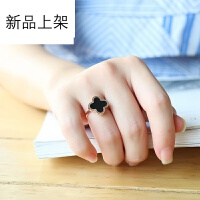 钛钢韩版韩国开口镀18K玫瑰金幸运四叶草女尾环食指黑色 黑色四叶草戒指