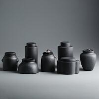 粗陶密封茶�~罐 �凸盘沾善斩�茶罐茶缸茶盒醒茶罐