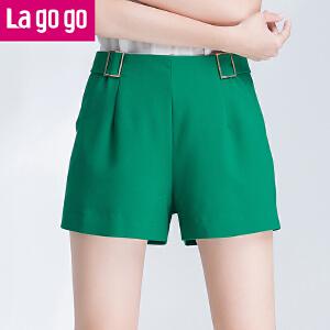 【商场同款】Lagogo/拉谷谷2017夏季新款百搭直筒纯色高腰裙裤GAKK135A47